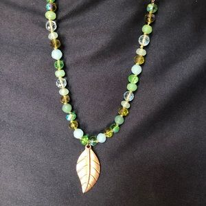 Copper & green glass bead necklace feather leaf